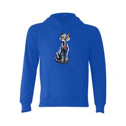 Sugar Skull Cat Blue Gildan Hoodie Sweatshirt (Model H03)