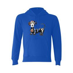 Dachshund Sugar Skull Blue Gildan Hoodie Sweatshirt (Model H03)