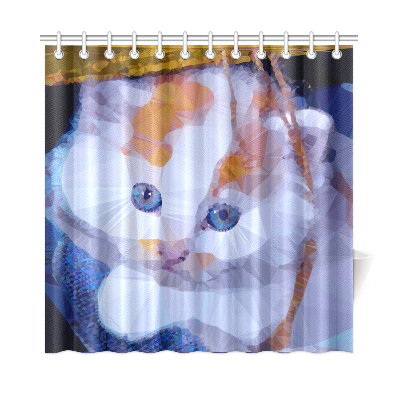 """White Kitten Blue Eyes Low Poly Shower Curtain 72""""x72"""""""