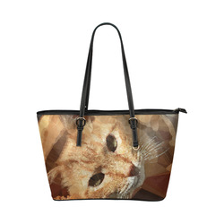 Tabby Cat Low Poly Geometric Triangles Leather Tote Bag/Small (Model 1651)