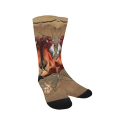 Wonderful horse with skull, red colors Trouser Socks