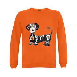 Dachshund Sugar Skull Orange Gildan Crewneck Sweatshirt(NEW) (Model H01)