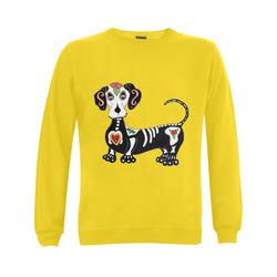 Dachshund Sugar Skull Yellow Gildan Crewneck Sweatshirt(NEW) (Model H01)