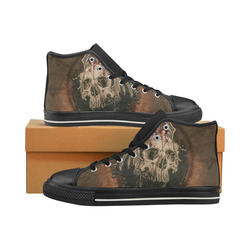 Awesome skull with rat Men's Classic High Top Canvas Shoes (Model 017)