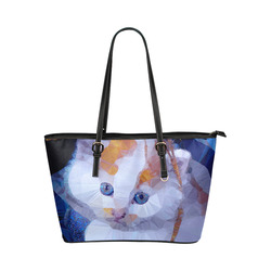 White Kitten Blue Eyes Low Poly Leather Tote Bag/Large (Model 1651)