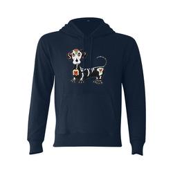 Dachshund Sugar Skull Dark Blue Gildan Hoodie Sweatshirt (Model H03)