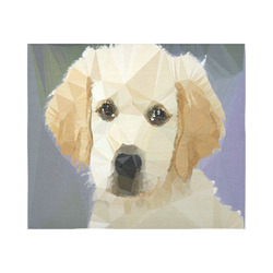 """Golden Retriever Puppy Low Poly Cotton Linen Wall Tapestry 60""""x 51"""""""