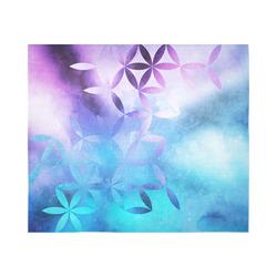 "geometric flowers in blue Cotton Linen Wall Tapestry 60""x 51"""