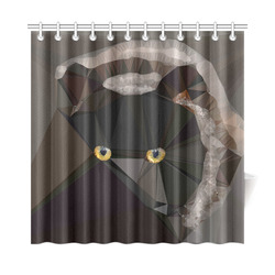 "Cat Yellow Eyes Low Poly Triangles Shower Curtain 72""x72"""