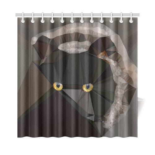 """Cat Yellow Eyes Low Poly Triangles Shower Curtain 72""""x72"""""""