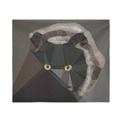 "Cat Yellow Eyes Low Poly Triangles Cotton Linen Wall Tapestry 60""x 51"""