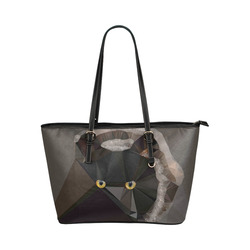 Cat Yellow Eyes Low Poly Triangles Leather Tote Bag/Small (Model 1651)