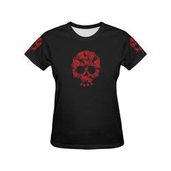 Rose Skull All Over Print T-Shirt for Women (USA Size) (Model T40)