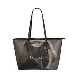 Cat Yellow Eyes Low Poly Triangles Leather Tote Bag/Large (Model 1651)