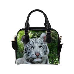 White Tiger Shoulder Handbag (Model 1634)