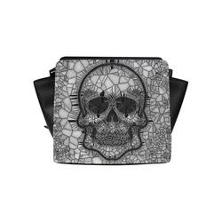 Glass Mosaic Skull, black  by JamColors Satchel Bag (Model 1635)