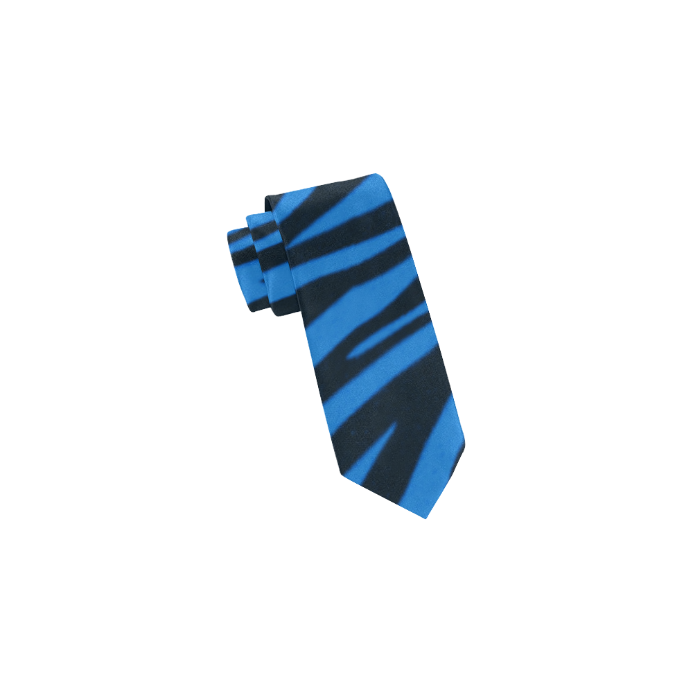 Blue Zebra Stripes Classic Necktie (Two Sides)