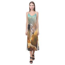 Tiger and Nebula V-Neck Open Fork Long Dress(Model D18)