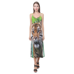 Tiger and Waterfall V-Neck Open Fork Long Dress(Model D18)