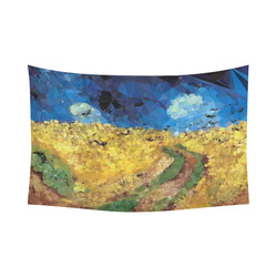 """Van Gogh Wheatfield Crows Low Poly Cotton Linen Wall Tapestry 90""""x 60"""""""