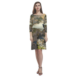 The lonely wolf on a flying rock Rhea Loose Round Neck Dress(Model D22)