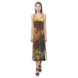 Tiger Face V-Neck Open Fork Long Dress(Model D18)