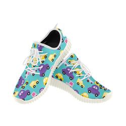 purple cartoon cars Grus Men's Breathable Woven Running Shoes (Model 022)