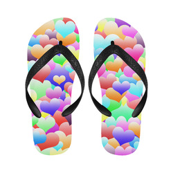 Bubble Hearts Dark Flip Flops for Men/Women (Model 040)
