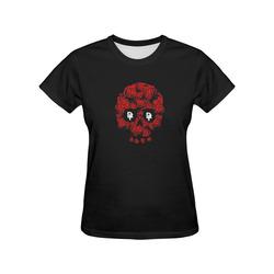 DF Rose Skull All Over Print T-Shirt for Women (USA Size) (Model T40)
