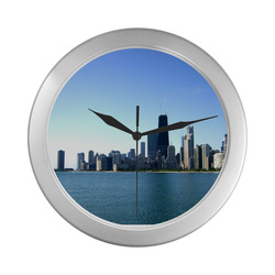 Chicago Skyline Silver Wall Clock Silver Color Wall Clock