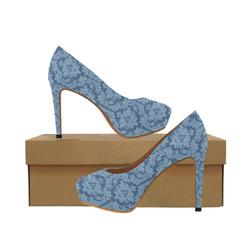 autumn fall colors blue damask pattern Women's High Heels (Model 044)