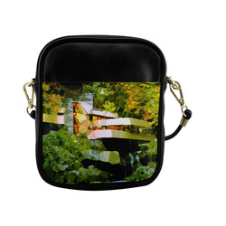 House Waterfall Low Poly Nature Landscape Sling Bag (Model 1627)