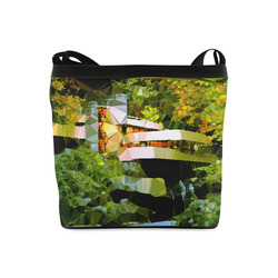 House Waterfall Low Poly Nature Landscape Crossbody Bags (Model 1613)