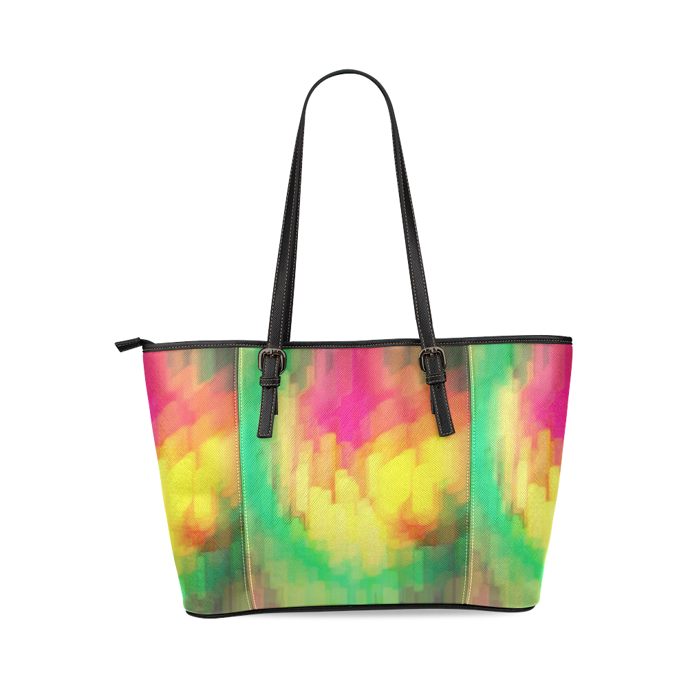 Pastel shapes painting Leather Tote Bag/Large (Model 1640)