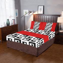 Black & White Cubes & Red 3-Piece Bedding Set