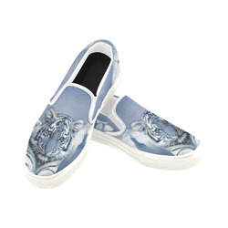 Blue White Tiger Women's Slip-on Canvas Shoes (Model 019)