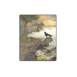 """The lonely wolf on a flying rock Blanket 40""""x50"""""""
