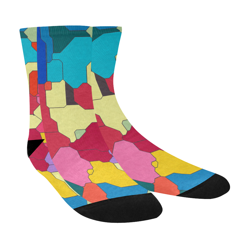 Colorful leather pieces Crew Socks