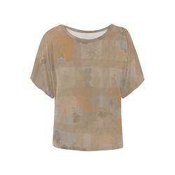 Orange Watercolor Women's Batwing-Sleeved Blouse T shirt (Model T44)