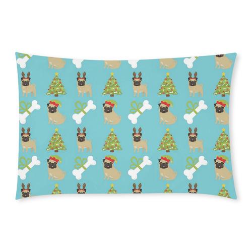 Christmas Reindeer Pug, Bones and Xmas Tree 3-Piece Bedding Set