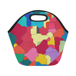 Colorful leather pieces Neoprene Lunch Bag/Small (Model 1669)