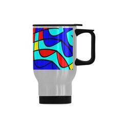 Colorful bent shapes Travel Mug (Silver) (14 Oz)