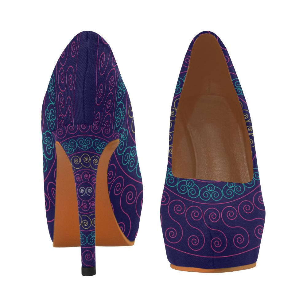 simply pink circular design mandala Women's High Heels (Model 044)