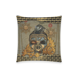 "Awesome steampunk skull Custom  Pillow Case 18""x18"" (one side) No Zipper"