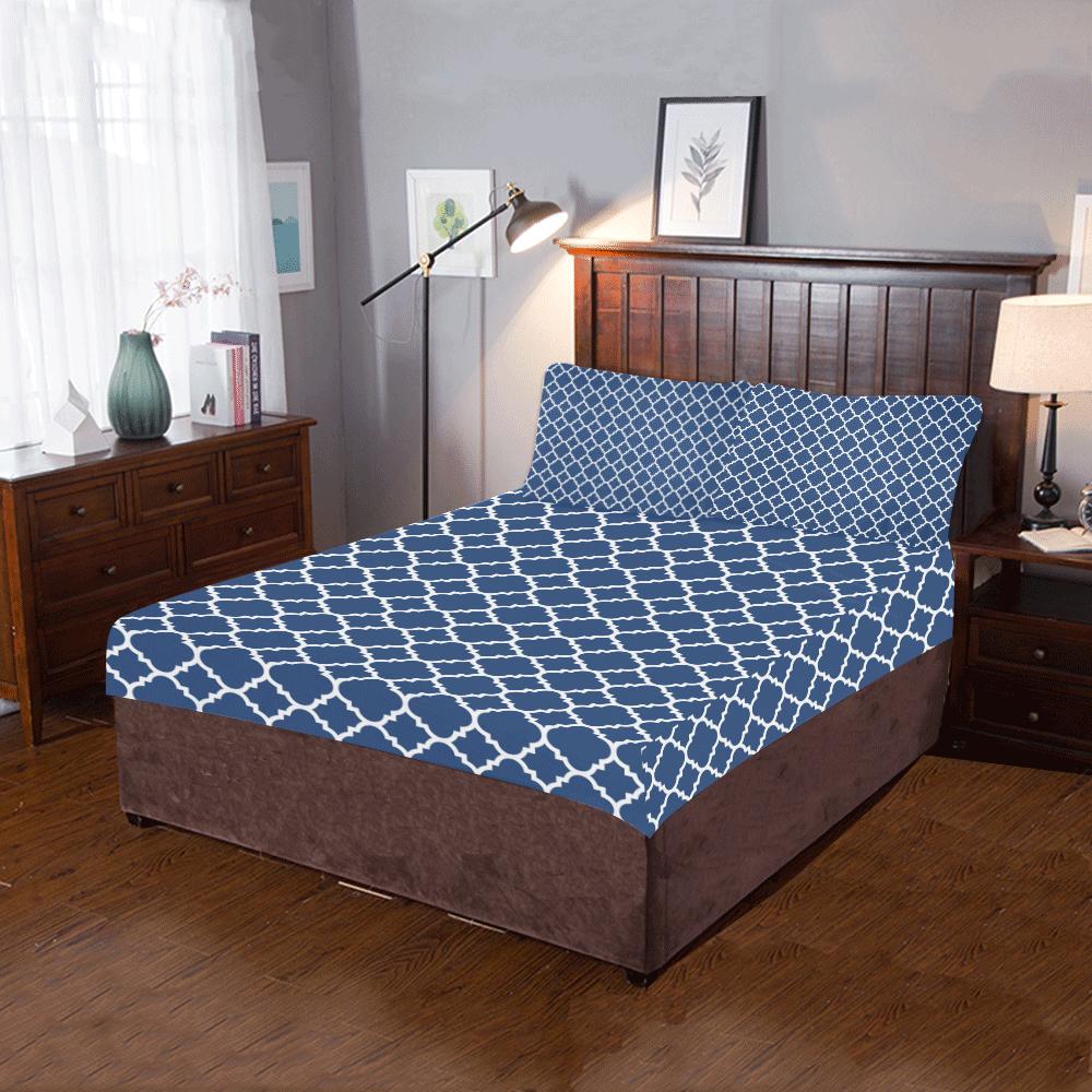 dark blue white quatrefoil classic pattern 3-Piece Bedding Set