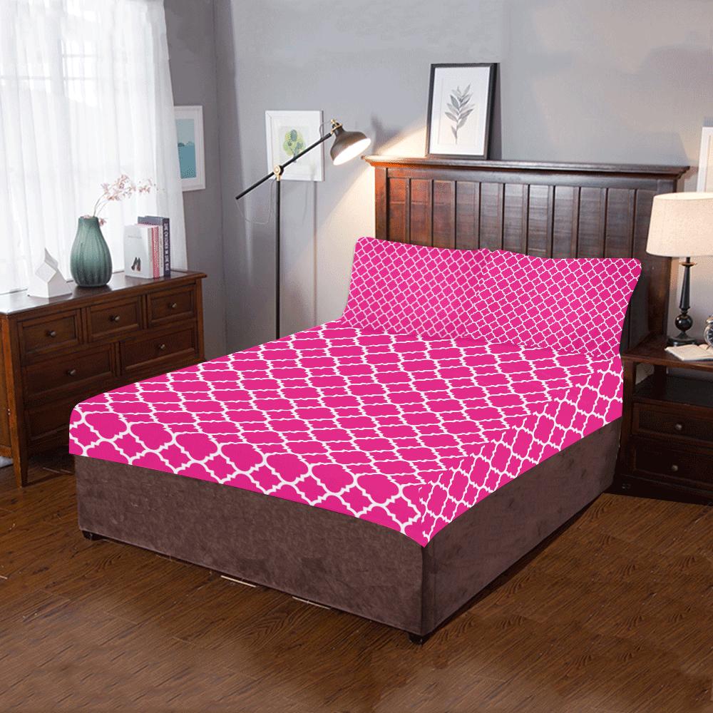 hot pink white quatrefoil classic pattern 3-Piece Bedding Set