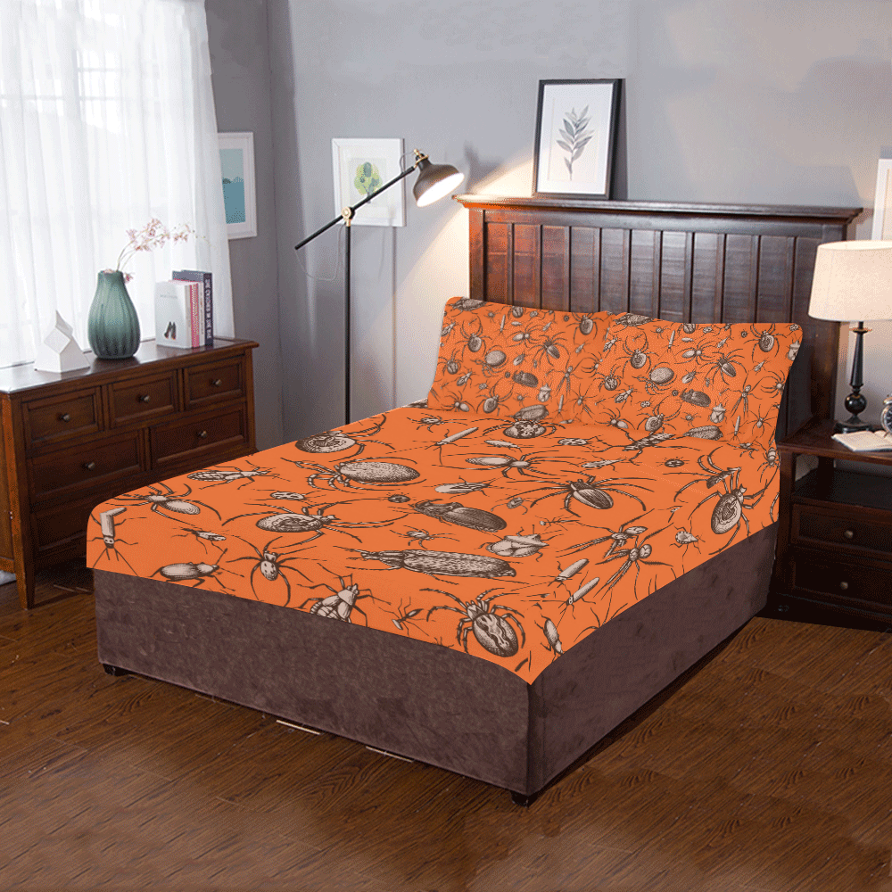 beetles spiders creepy crawlers insects halloween 3-Piece Bedding Set