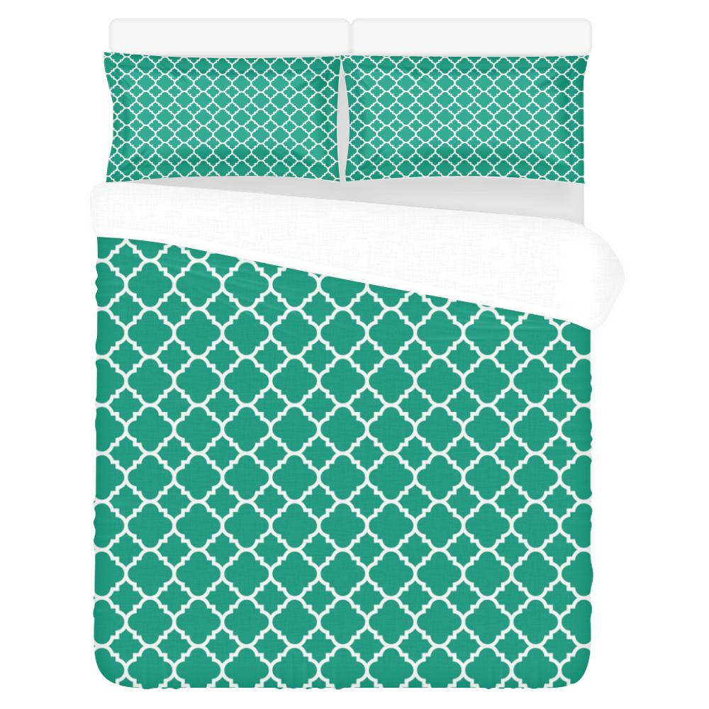 emerald green white quatrefoil classic pattern 3-Piece Bedding Set