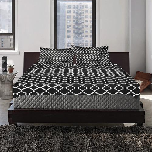 black white quatrefoil classic pattern 3-Piece Bedding Set
