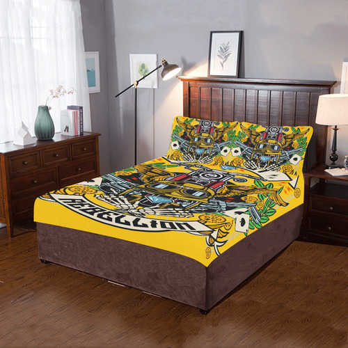 Street Rebellion Modern Yellow 3-Piece Bedding Set